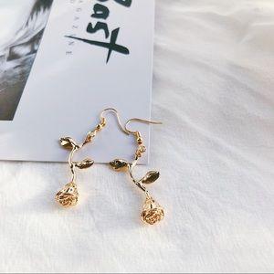 Gold Rose Minimalist Drop Earrings